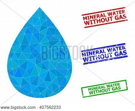 Triangle Water Drop Polygonal Symbol Illustration, And Rubber Simple Mineral Water Without Gas Rubbe
