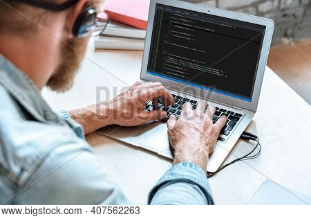 Over Shoulder Closeup View Man It Coder Programmer Software Engineer Use Laptop Computer Typing Code