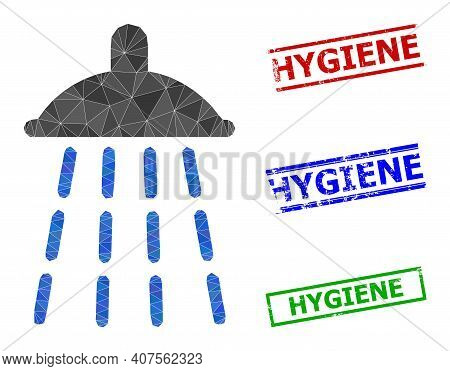 Triangle Water Shower Polygonal 2d Illustration, And Rubber Simple Hygiene Rubber Seals. Water Showe