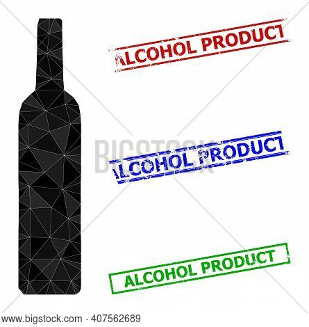 Triangle Wine Bottle Polygonal Icon Illustration, And Scratched Simple Alcohol Product Stamp Prints.