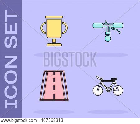 Set Bicycle, Award Cup With Bicycle, Lane And Handlebar Icon. Vector