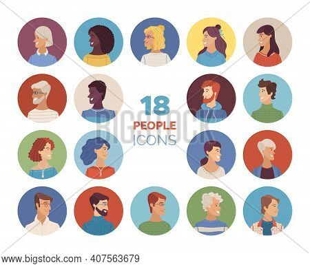 Women And Men Icons Set. Flat Vector Faces Of Diverse Nationalities. Blonde, Brunette, Red, And Grey