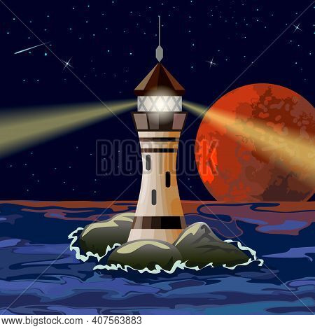 Color Illustration With A Lighthouse At Sea.seascape With A Lighthouse In Color Vector Illustration.