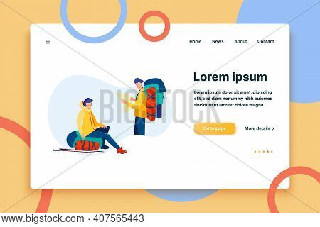 Outdoor Tourists Studying Map. Man And Woman With Backpacks, Trekking, Camping Flat Vector Illustrat