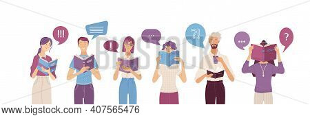 People Reading Books Composition In Flat Style. Happy Young People Holding Opened Books With Speech