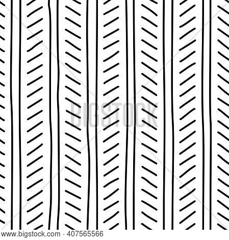 Tweed Freehand Seamless Pattern. Ink Pen Hand-drawn Line Art. Monochrome Digital Paper For Textile P