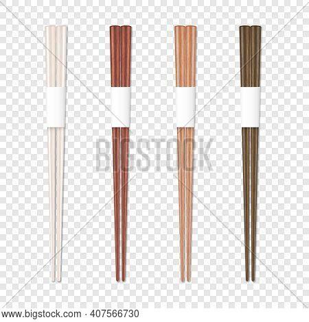 Vector 3d Realistic Wooden Chopsticks Set Closeup Isolated. Design Template Of Food Sticks, Asian Ba