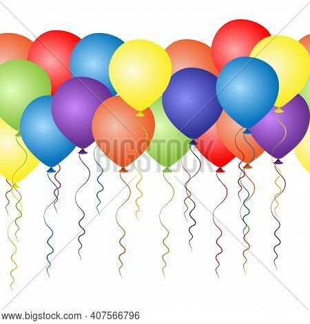 Seamless Border Of Colorful Helium Balloons. Birthday Baloons For Party And Celebrations. Isolated O