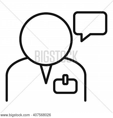 Man Translator Icon. Outline Man Translator Vector Icon For Web Design Isolated On White Background