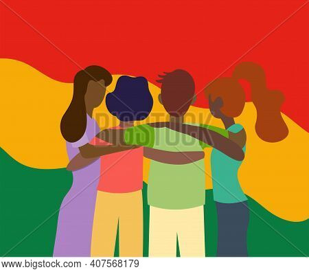 Group Of Black People Are Standing Together And Hugging. We Are All Equal. Together African People C