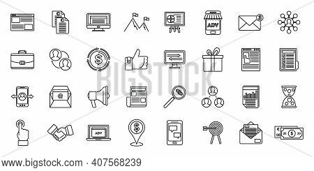 Affiliate Marketing Campaign Icons Set. Outline Set Of Affiliate Marketing Campaign Vector Icons For
