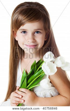 Caucasian Girl-Kid with Bunch of Flowers
