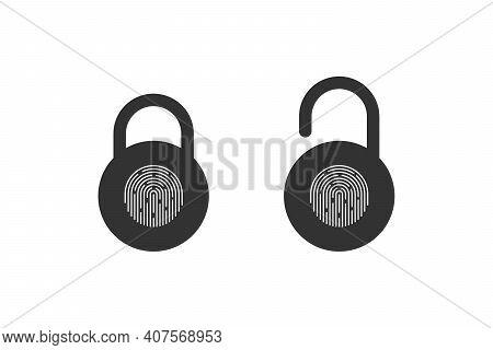Fingerprint Padlock. Fingerprint Lock Or Unlock. Locked And Unlocked Modes. Vector Illustration