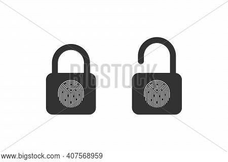 Fingerprint Padlock. Fingerprint Lock Or Unlock Concept. Locked And Unlocked Modes. Vector Illustrat