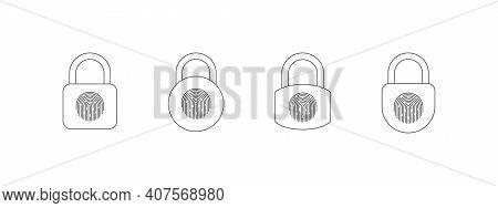 Fingerprint Padlock Icons Set. Fingerprint Lock Or Unlock. Locked And Unlocked Modes. Linear Icons.