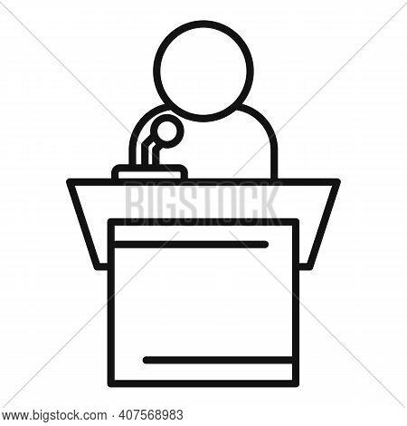 Speaker Tribune Icon. Outline Speaker Tribune Vector Icon For Web Design Isolated On White Backgroun