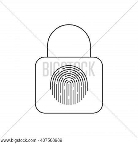 Fingerprint Padlock Sign. Fingerprint Lock Or Unlock. Locked And Unlocked Modes. Linear Icons. Trend