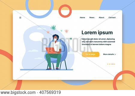 Man In Mask Using Laptop For Online Chat With Doctor. Video Call, Medical Consultation Flat Vector I