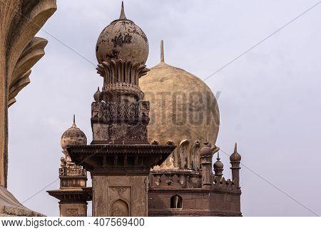 Vijayapura, Karnataka, India - November 8, 2013: Gol Gambaz Mausoleum. Closdup Of Small Minaret With