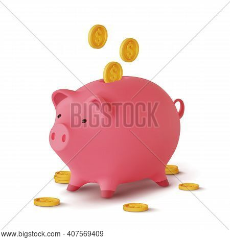 3d Realistic Moneybox In The Form Of A Pig And Coins Falling, Isolated On White Background, Vector I
