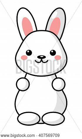 Little Cute White Kawaii Easter Bunny. Beautiful Kawaii Vector Illustration For Greeting Card, Poste