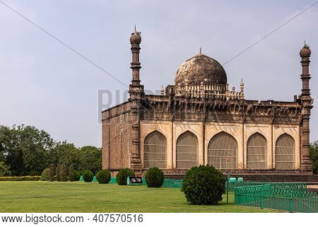 Vijayapura, Karnataka, India - November 8, 2013: Gol Gambaz Mausoleum. Adjacent Stands The Majhid Or