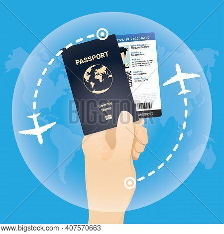 Immunity Vaccinated Passport For Travel During Coronavirus Pandemic Concept. Covid-19 Immuned Vaccin