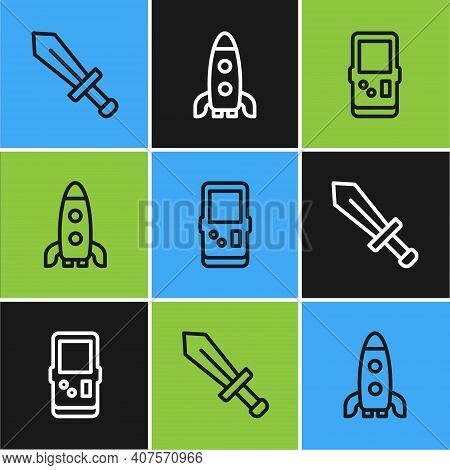 Set Line Sword For Game, Tetris And Rocket Ship Icon. Vector