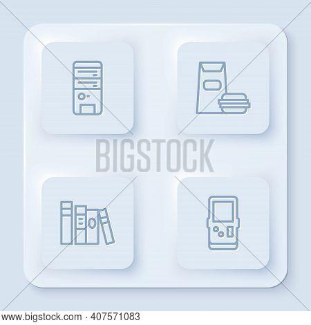 Set Line Computer, Burger, Book And Tetris. White Square Button. Vector