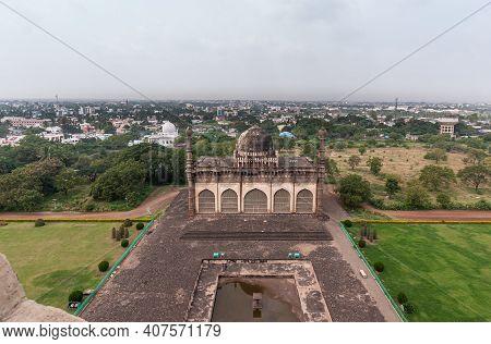 Vijayapura, Karnataka, India - November 8, 2013: Gol Gambaz Mausoleum. Aerial View On Majhid Or Mosq