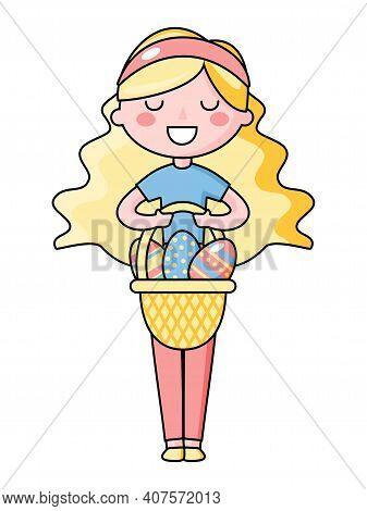 Cute Kawaii Easter Girl With Basket Of Easter Eggs. Beautiful Kawaii Vector Illustration For Greetin