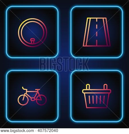 Set Line Bicycle Basket, , Wheel And Lane. Gradient Color Icons. Vector