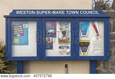 Weston-super-mare, Uk - February 8, 2021: A Notice Board Belonging To Weston-super-mare Town Council