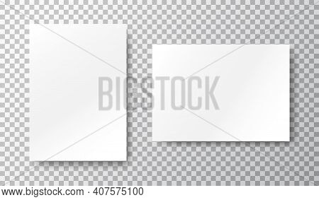 Blank Mockup Set On Transparent Background. White Sheets Of Paper. Realistic Brochure A4. Notebook W