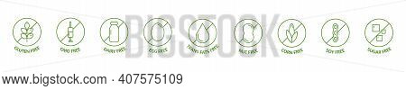 Organic And Natural Cosmetic Line Icon Big Set. Gmo Free Emblems. Organic Products Badges. Hypoaller