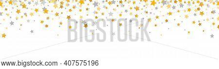 Golden And Gray Stars Border. Celebration Long Banner. Gold And Silver Shooting Stars. Glitter Elega
