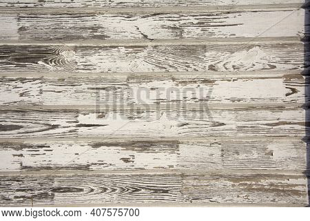 Natural Old Boardwalk Wooden Background With Peeled White Paint, Patina, Vintage
