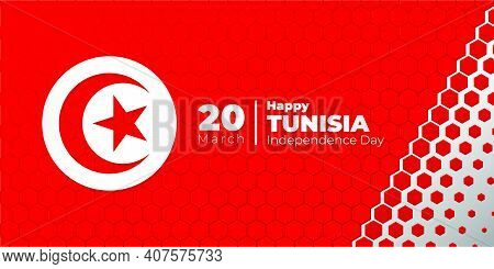 Red And White Hexagonal Background With Tunisian Flag Design. Good Template For Tunisia Independence