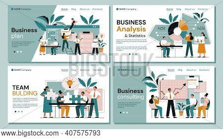 Four Business Analysis Page Templates Showing Diverse Businesspeople And Teams Analysing Statistical