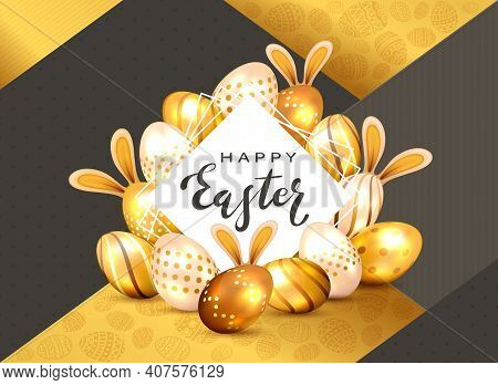 Black Lettering Happy Easter On White Card And Set Of Golden Easter Eggs With Bunny Ears On Holiday