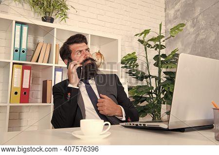 Mobile Phone Communication. Bearded Man Talk On Phone In Office. Businessman Establish Communication