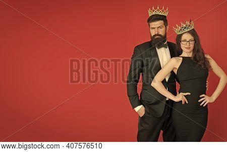 Pride And Egoism. Egoists Wear Crowns Red Background. Couple Of Egoists. Egoist Dream. Prom Party. B