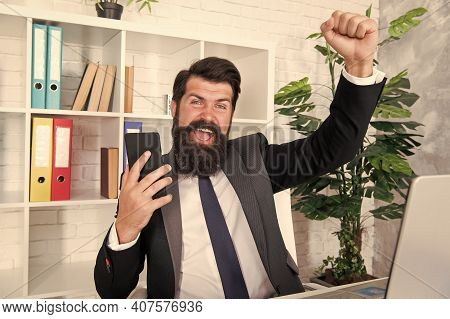 Happy Boss. Successful Conversation. Crisis Concept. Communicating With Clients. Businessman Mobile