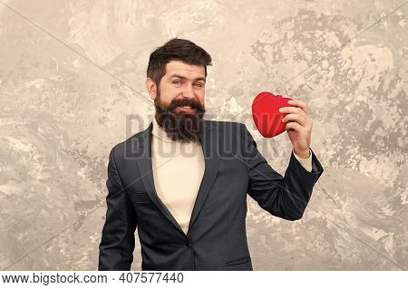 Flirting With You. Feast Of Saint Valentine. Generous Man. Handsome Man Hold Red Heart. Businessman
