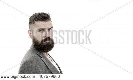 Hair And Beard Care. Male Barber Care. Mature Hipster With Beard. Bearded Man. Brutal Caucasian Hips