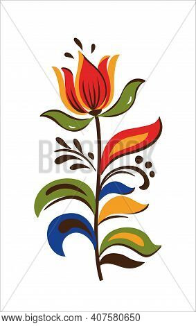 Vector Oriental Motif Of Flowers. Original Floral Design With Of A Woody Vine With Exotic Flowers, T