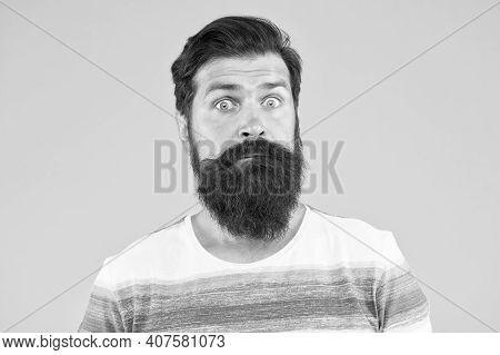 Have Some Doubts. Hipster Bearded Face Not Sure. Doubtful Bearded Man On Yellow Background Close Up.