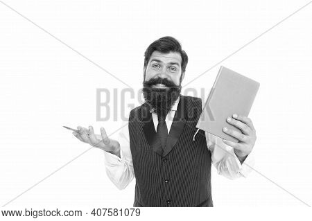 Doubting In His Knowledge. Bearded Man Hold Book And Pen. Exam Preparation. Reading And Writing. Bac