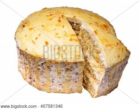 Biscuit Creamy Cake Glazed With Translucent Yellow Glaze And Decorated With Shavings Of Orange Peel