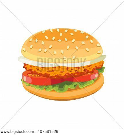 Chicken Burger Tasty Include Cutlet Tomato Salad.